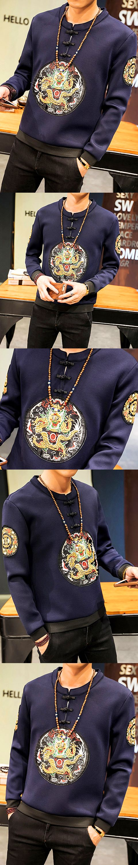Men's Long-sleeve Top with Dragon Embroidery (RM)