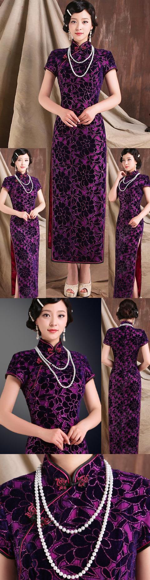 碗袖長身華麗旗袍(成衣)