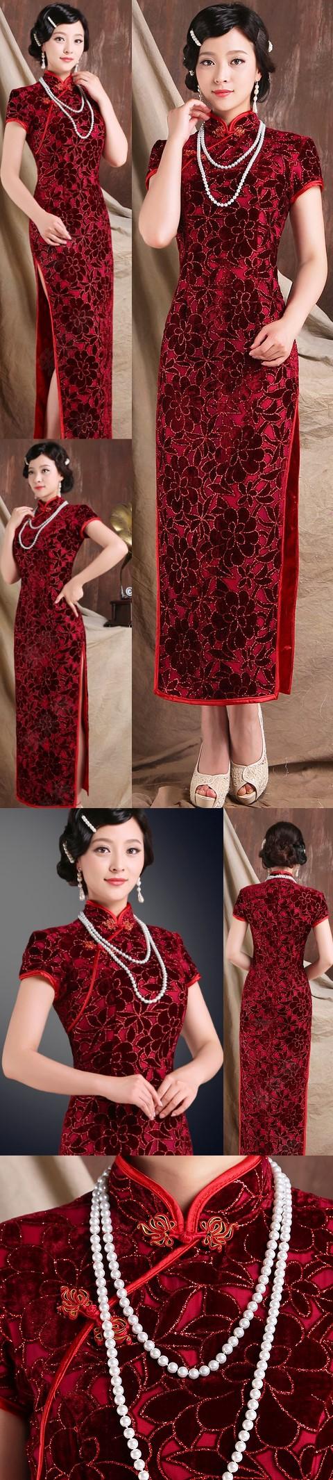 Cup-sleeve Long-length Gorgeous Cheongsam (RM)