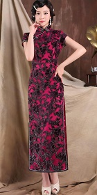 Bargain - Cup-sleeve Long-length Gorgeous Cheongsam (RM)