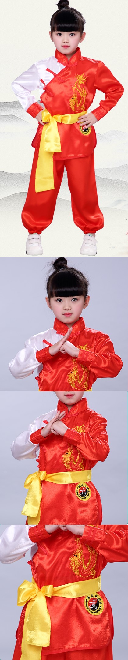 Kid's Dragon Embroidery Kung Fu Uniform with Sash (RM)