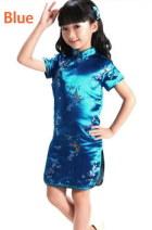 Bargain - Girl's Plumb Blossom Cheongsam Dress (Blue)