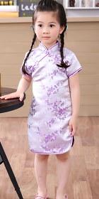 Bargain - Girl's Plumb Blossom Cheongsam Dress (Orchid)