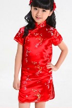 Bargain - Girl's Camellia Cheongsam Dress (Red)