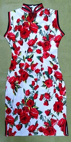 Bargain - Mid-length Cotton Printing Cheongsam Dress