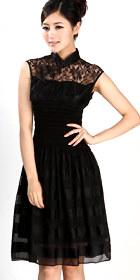 特價品-無袖短身刺繡旗袍 (黑色)