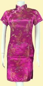 特價品-短袖短身織錦緞旗袍-玫紅色