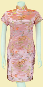 Bargain - Short-sleeve Short Brocade Cheongsam Dress - Pink (RM)