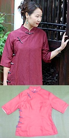 Bargain - Elbow-sleeve Mandarin Blouse