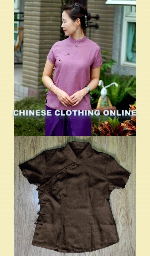 Bargain - Short-sleeve Mandarin Blouse