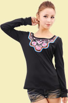 Bargain - Ethnic Long-sleeve Embroidery Patch Blouse