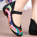 Low-Heel Phoenix Embroidery Shoes (Black)