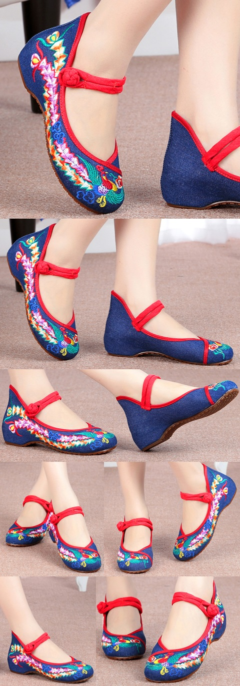 Low-Heel Phoenix Embroidery Shoes (Blue)