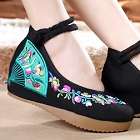 Mid Heel Fan Embroidery Shoes (Black)