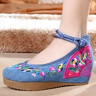 Mid Heel Fan Embroidery Shoes (Blue)