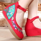 Mid Heel Fan Embroidery Shoes (Red)