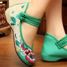 Bargain - Heel Floral Embroidery Shoes (Green)