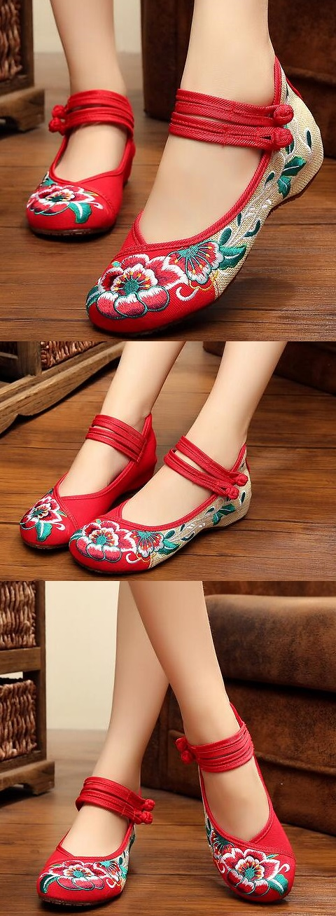 Low-Heel Floral Embroidery Shoes (Red)