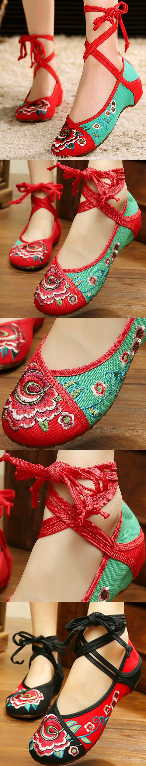 Low-Heel Floral Embroidery Shoes (Multi-color)