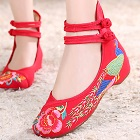 Mid Heel Peacock Embroidery Shoes (Red)