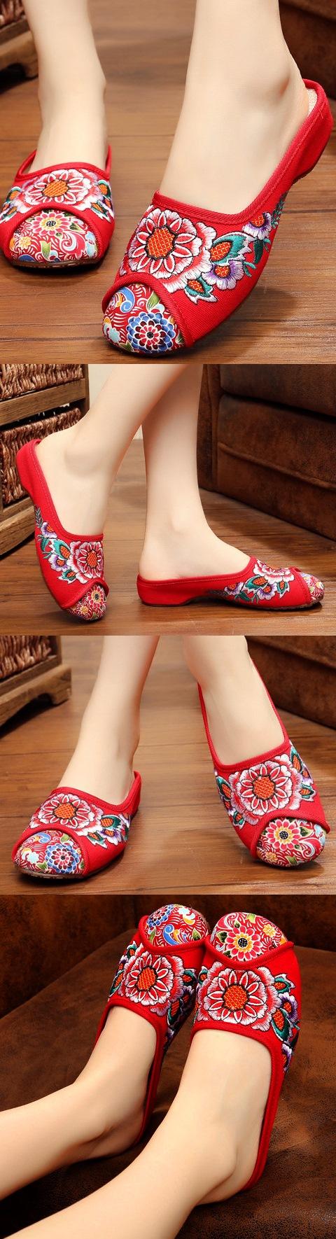 花卉刺繡拖鞋(紅色)