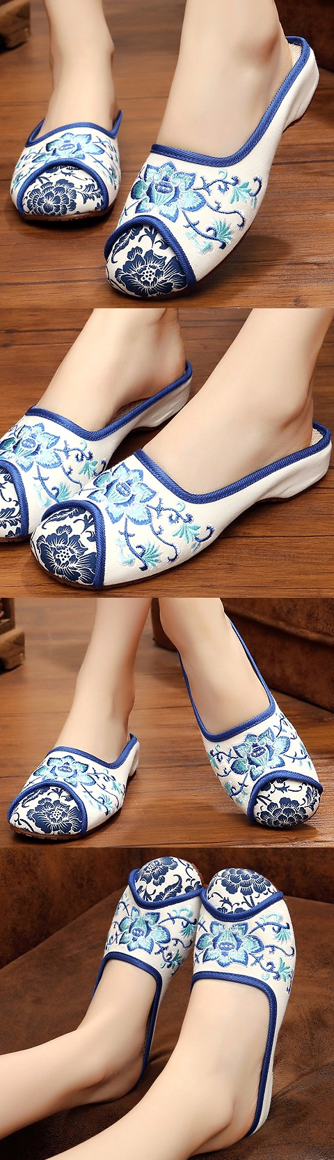 Flower Embroidery Slippers (White)