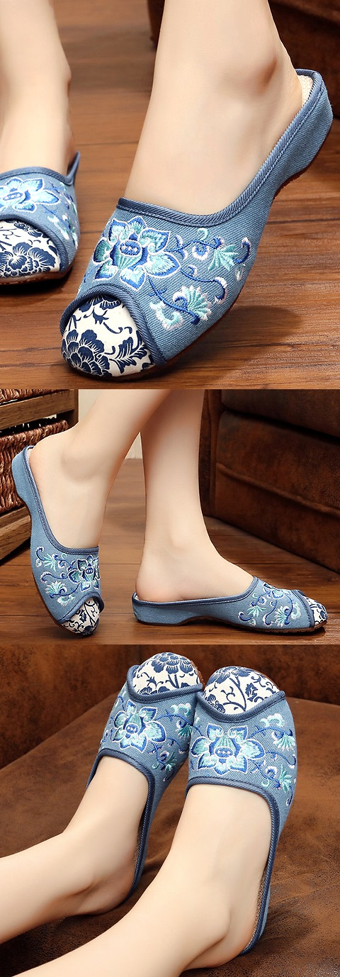 Flower Embroidery Slippers (Grey)