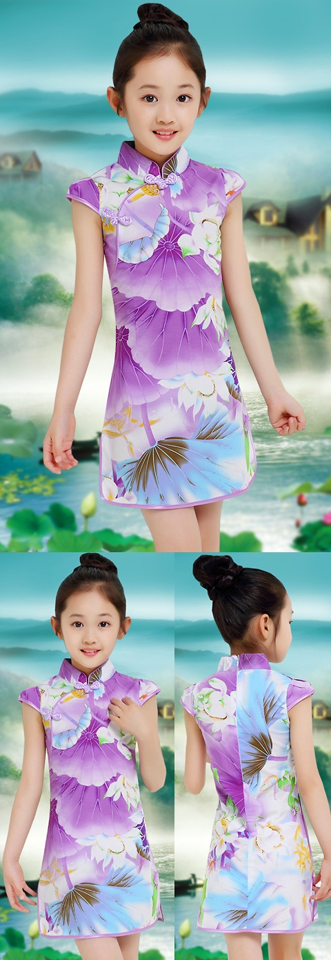 Girl's Floral Cheongsam Dress (RM)