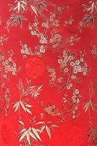 Fabric - Plum Blossom and Bamboo Brocade (Multicolor)