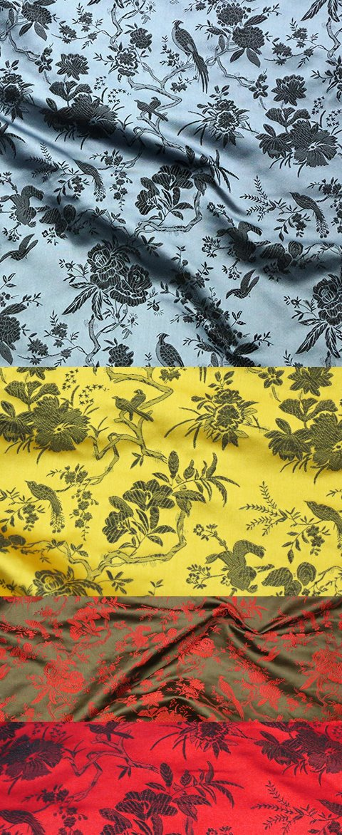 Fabric - Flower and Bird Brocade (Multicolor)