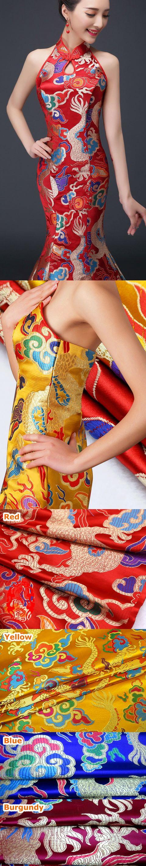 Fabric - Magnificent Large Dragon Brocade (Multicolor)