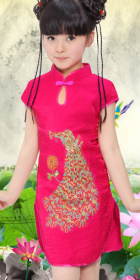 Girl's Peacock Embroidery Cheongsam Dress (RM)