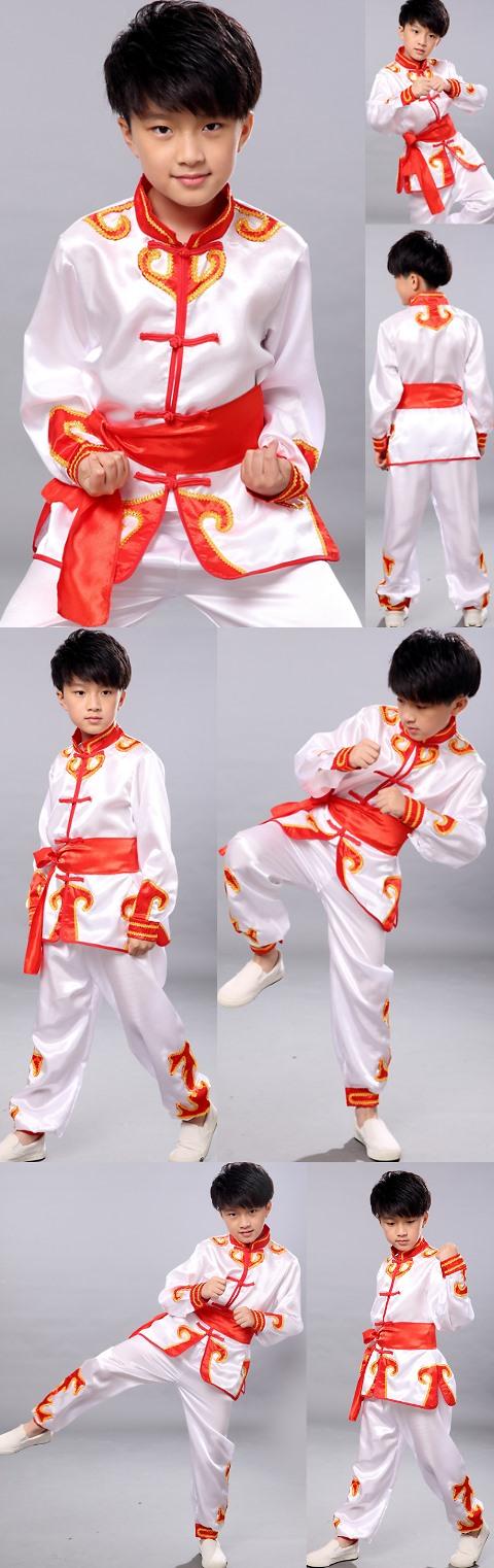 兒童貼邊武術練功服連腰帶 (成衣)