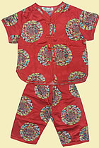 Bargain - Kid's Short-sleeve Longevity Mandarin Suit (Red)