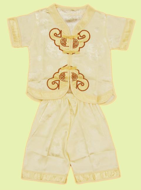 Boy's Short-sleeve Double Cloud Hooks Mandarin Suit (RM)