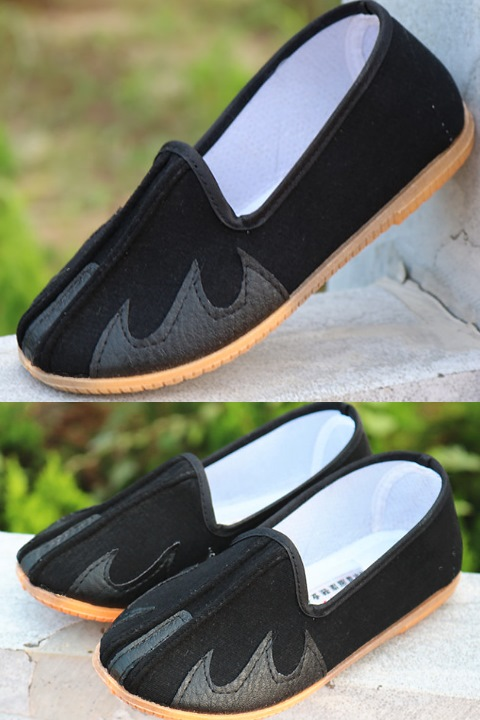 Boy's Double Girder Cloth Shoes w/ Wave Hook Patterns