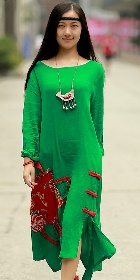 Ethnic Loose Cotton Dress with Floral Applique - Green (RM)