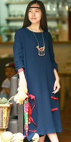 Ethnic Loose Cotton Dress with Floral Applique - Navy Blue (RM)