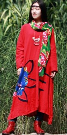 Ethnic Loose Cotton Dress with Floral Applique - Red (RM)