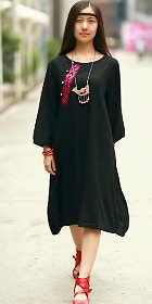 民族風寬鬆純棉麻連衣裙-紅色 (成衣)