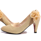 High Heel Ribbon Flower Shoes