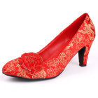 High Heel Brocade Vamp Shoes
