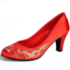High Heel Dragon and Phoenix Embroidery Shoes (Red)