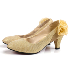 Mid Heel Ribbon Flower Shoes