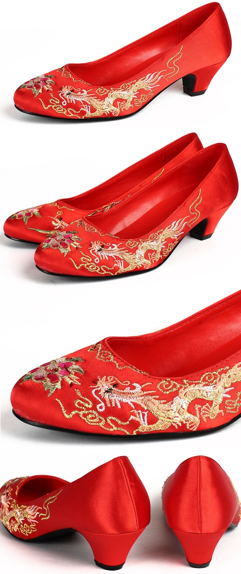 Mid Heel Dragon and Phoenix Embroidery Shoes (Red)