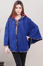 Trendy Ethnic Flannel Cloak w/ Hood (RM)