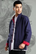 Mandarin Reversible Linen-cotton Jacket (RM)