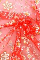 面料 - 透視繡花網紗(紅色)