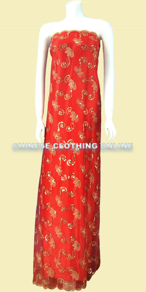 Fabric - See-through Embroidery Gauze (Red)