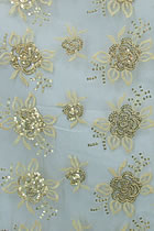 Fabric - See-through Embroidery Gauze w/ Paillettes (Wheat)